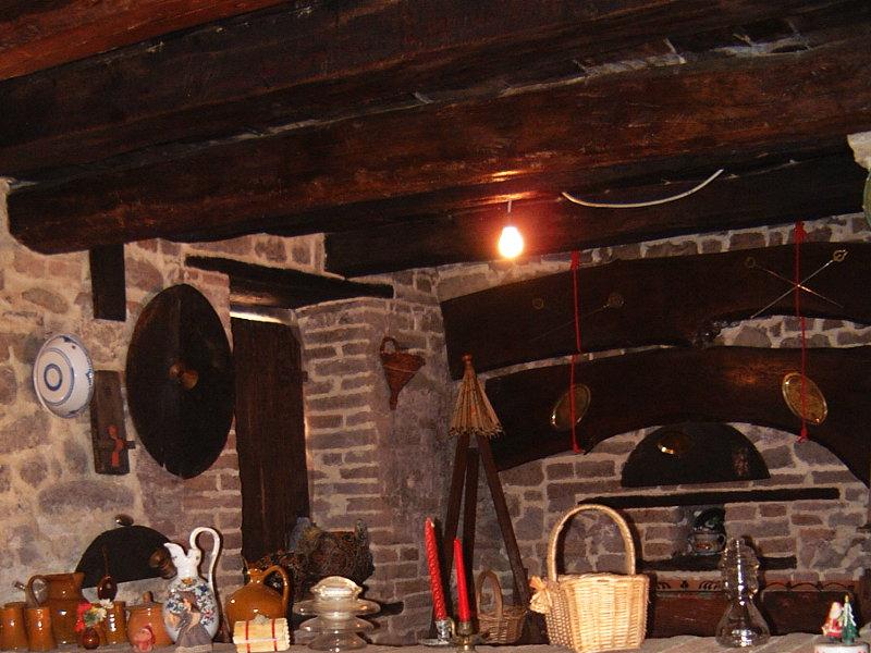 Original ceiling beams in restored stables