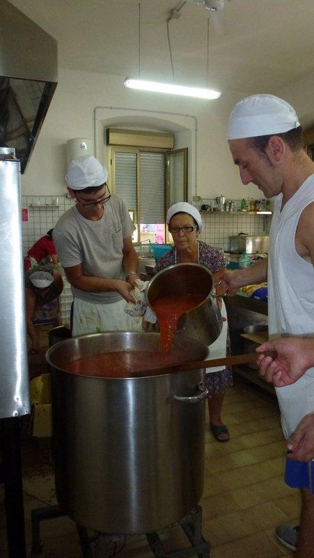 Preparing the sugo for the gnocchi